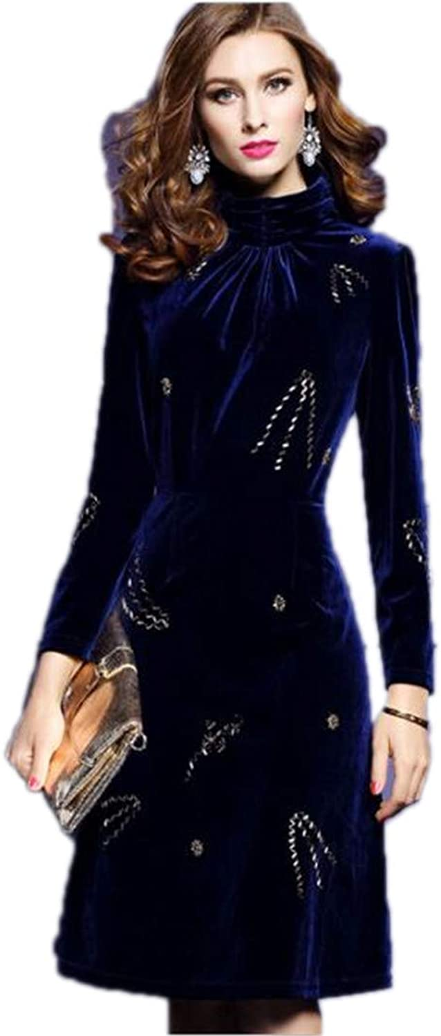 KensMont Velvet Evening Beading Long Sleeve SemiHigh Collar ALine Dress