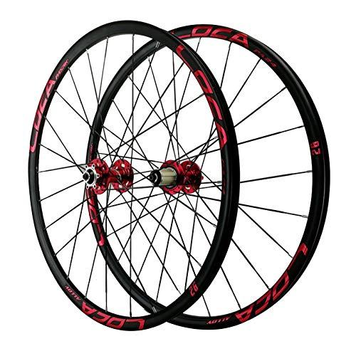 ZNND Ciclismo Wheels 26/27,5'',24 Hoyos Rueda de Freno Disco Radios Planos Juego de Ruedas de Liberación Rápida para Bicicleta de Montaña (Color : Red, Size : 26in)