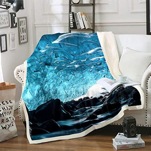 Manta de forro polar para niños y niñas, diseño de cueva de hielo azul, manta de felpa brillante de la naturaleza, famosa escena, manta difusa para sofá cama, bebé 76 x 100 cm