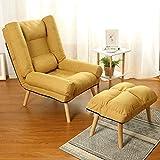 WOF Kleine Wohnung faules Sofa Recliner - mit Fußstütze Liegestuhl faltbar Schlafzimmer kleinen Sofa (Gelb) (Color : Yellow)