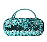 Women Kids Girls Boys Reversible Sequins Eyeglass Case Glasses Pouch Dazzling Sparkle Glitter Hard Shell with Handle, Blue+purple, One Size