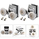 AllRight 2pcs Zinc Alloy Shower Door Rollers Runners 23mm Wheel Diameter Twin Shower Door Roller Runners Wheels Pulleys Upper wheel for Bathroom Replacement Parts TOP