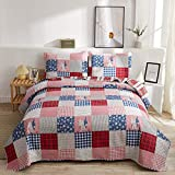 Christmas Quilt Set Twin Size Red Blue Plaid Patchwork Quilt Set Lightweight Bedspread Coverlet Snowflake Pattern Bedding Bed Set Gift for Kids Girls Adults,1 Quilt,2 Pillow Shams