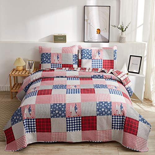 Christmas Quilt Set Full/Queen Size Red Blue Plaid Patchwork Quilt Set Lightweight Bedspread Coverlet Snowflake Pattern Bedding Bed Set Gift for Kids Girls Adults,1 Quilt,2 Pillow Shams