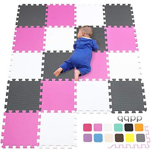 qqpp EVA Puzzle Tapis Mousse Bebe - Idéal pour Les Tapis De Jeux Enfant,18 Dalles(30*30*1cm), Blanc, Rose, Gris. QQC-ACLb18N