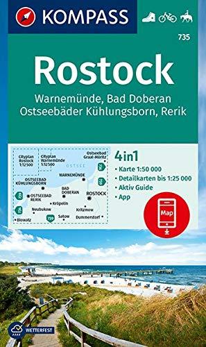 KOMPASS Wanderkarte Rostock, Warnemünde, Bad Doberan, Ostseebäder Kühlungsborn, Rerik: 4in1 Wanderkarte 1:50000 mit Aktiv Guide und Detailkarten ... Reiten. (KOMPASS-Wanderkarten, Band 735)