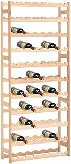 RT Étagère à Vin Casier à 77 Bouteilles en Bois de Pin Robuste Modulable, 72x25x166 cm