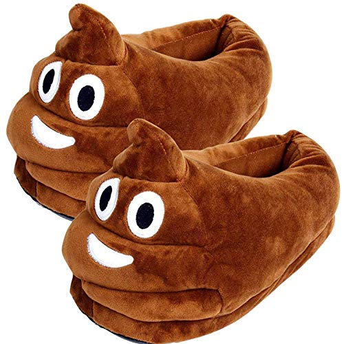 LYLIN Poop Emojis Slippers, Warm Indoor Slippers Plush Cotton Comfortable Winter House Shoes for Kids Women Men Brown