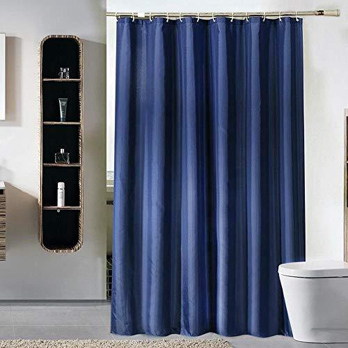 Milopon Duschvorhang 120x180 cm Textil Blau Badezimmer Vorhang Anti-Schimmel Shower Curtain Wasserdicht Waschbar Duschvorhänge, mit 12 Duschvorhangringen & Beschwertem Saum
