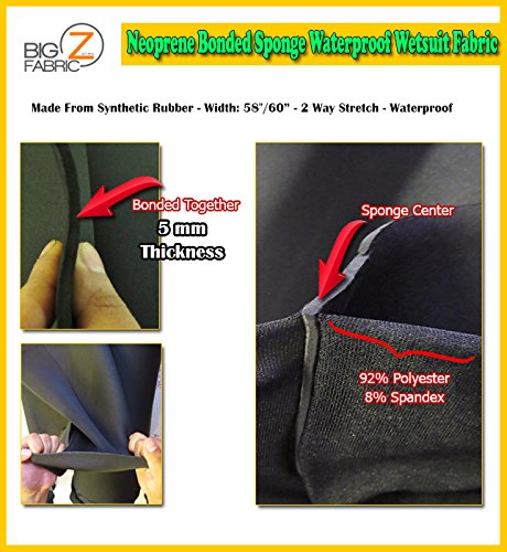 Neoprene Bonded Sponge Waterproof Wetsuit Fabric Black 1MM, 2MM, 3MM, 4MM, 5MM Thick Sold by The Foot (5MM - by The Foot)