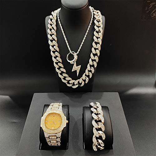 MTRESBRALTS - Reloj de pulsera para hombre, diseño de Hip Hop Cubano con colgante de pulsera y anillo combo conjunto de joyas para hombre, color amarillo y dorado
