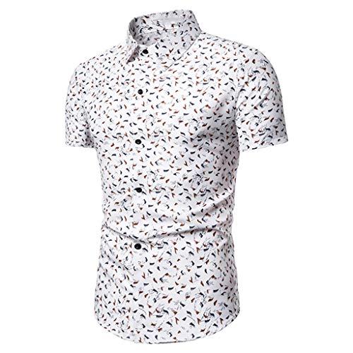 Sylar Camisa De Manga Corta para Hombre 2019, Moda Simple Casual Ajuste Delgado Tops De Verano Impreso BotóN Camisa,para El Trabajo,la Playa, Fiestas, Verano y Vacaciones