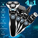 Electric Razor Shaver for Men, 4 in 1 Dry Wet Waterproof men's Rotary Shaver Portable Face Shaver Travel Rechargeable Beard Trimmer USB Cordless Nose Trimmer Facial Cleaning Brush for Dad (Black)