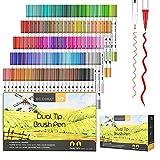 GC QUILL 120 colores rotuladores punta pincel marcadores acuarelables con punta de pincel y punta fina-para colorear, dibujo y caligrafía GC-120W
