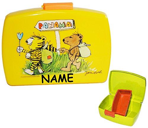 alles-meine.de GmbH Brotdose / Lunchbox -  Janosch / Tigerente - Tiger & Bär  incl. Name - mit extra herausnehmbaren Einsatz / Fach - Einlagefach - Einlage - Trennwand / Tiere ..