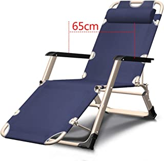 Meijiale Furniture Classic Chair Lightweight Small Footstoo Recliner Fold Summer Siesta Simple Nap Office Folding Bed Sandy Beach Outdoor Portable Chair Blue (Color : No Cotton Pad)