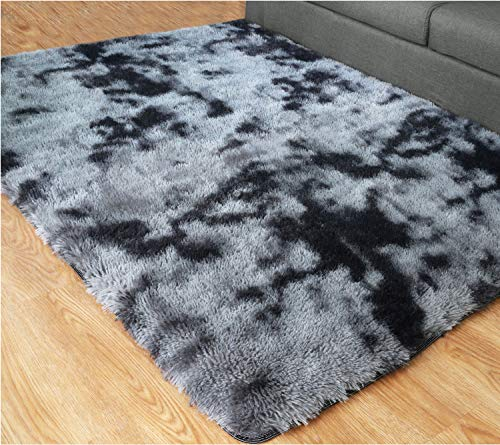 PAGISOFE Ultra Soft Abstract Area Fluffy Rug Black and Gray 4x6 Feet Carpet, Thick Accent Rugs for Living Room Bedroom Dining Room Decor Multi Color with Rubber Backing (Grey and Black)