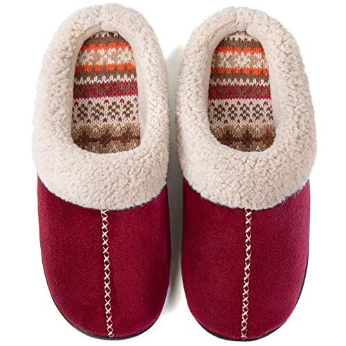 ULTRAIDEAS Women's Comfort Memory Foam Slippers with Warm Fleece Lining and Wool-Like Collar, Casual Micro Suede Slip on House Shoes with Indoor Outdoor Anti-Skid Hard Rubber Sole (Wine, 5-6)