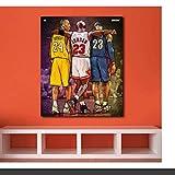 HHLSS Quadri murali 70x90 cm con Cornice Art Michael Jordan Kobe Bryant Lebron James Nuovo Dipinto NBA per Soggiorno Decorativo per la casa