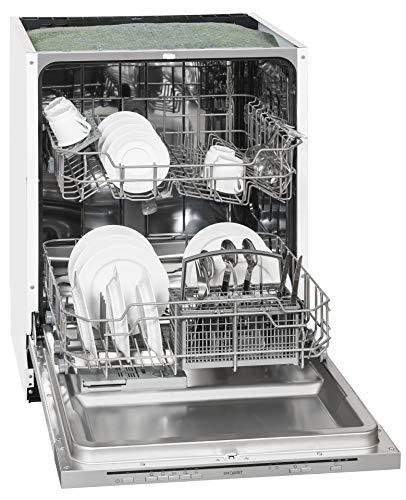 Exquisit Geschirrspüler EGSP 1012 E/B | Teilintegriert, Einbaugerät | 12 Maßgedecke | Weiß
