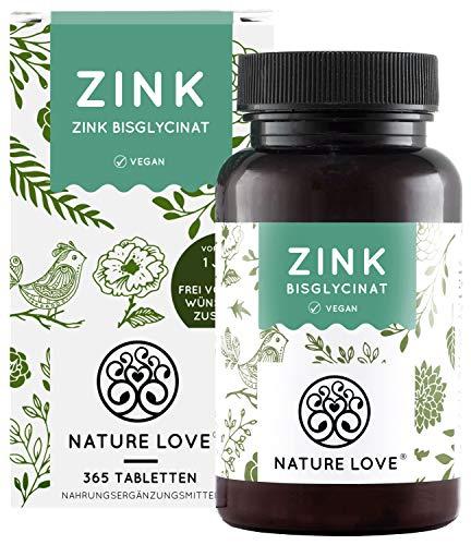 NATURE LOVE® Zink - 25mg - 365 Tabletten (1 Jahr) - Hochdosiertes Zink-Bisglycinat (Zink Chelat) von Albion® - Hoch bioverfügbar und vegan - Laborgeprüft und hergestellt in Deutschland