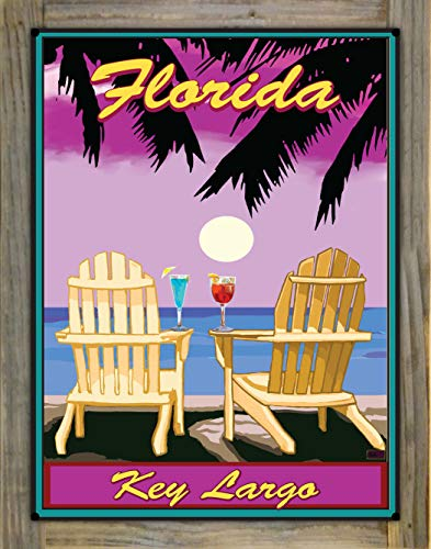 Northwest Art Mall Key Largo Florida Adirondack Chairs Palms Punch Metal Print on Reclaimed Barn Wood from Alla Prima Painting by Artist Joanne Kollman 18' x 24'