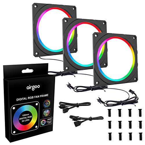 Marco de ventilador digital RGB de alta densidad LED direccionable marco RGB para ventilador de PC de 120 mm, compatible con cabezal...