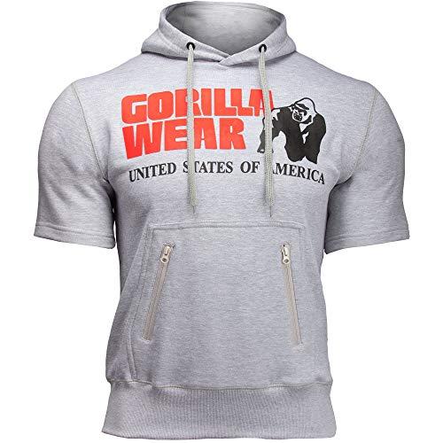 Gorilla Wear Boston Short Sleeve Hoodie Red rot - Bodybuilding und Fitness Pullover für Damen und Herren, Grau, L
