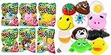 Splat Balls Sticky & Stretchy (Pack of 6) by JA-RU. Decompression Splat Toy Egg, Eye, Monkey, Frog, Duck & Pig. Plus 1 Bouncy Ball New2-5303-6p
