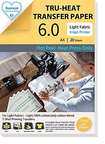 TransOurDream Tru Heat Transfer Paper Light for Heat Press Machine/20...