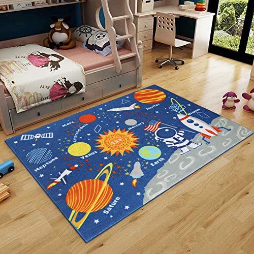 Pauwer Spielteppich Kinder Waschbar Krabbelmatte Weltraum Lernteppich mit Rakete und Planet Bildungsbereich Teppich Rutschfest Groß Baby Teppich,Grösse:100x130cm