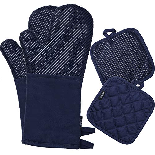 Semboh Oven Mitts & Pot Holders, Cotton Heat Resistant Gloves for Kitchen - Long Oven Gloves for Baking, Thick Hot Pads for Oven, Silicone Oven Pads for Cooking - Blue Hot Mats