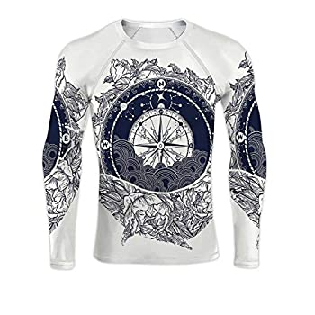 Antique Compass and Floral Whale Tattoo Art.Mystical of Adventure,Dry Fit Long Sleeve Compression Running Shirts Dreams t-Shirt Design.Travel M
