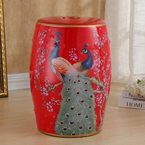 LQJYXD Schuhhocker Keramikhocker Trommelhocker Chinesischer Keramikhocker Flower Bird Keramikhocker Antiker Hocker Klassischer Dressinghocker (Farbe: A)