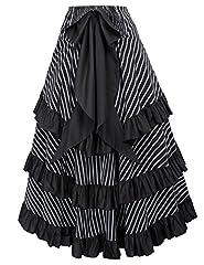 Belle Poque Gothic Steampunk Victorian Corset High Low Skirt Edwardian Ruffled Long Skirt Black 4XL #1