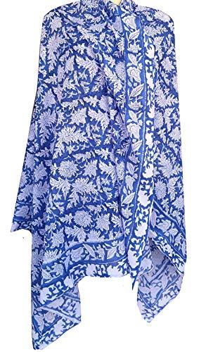 "Rastogi Handicrafts 100% Cotton Hand Block Print Sarong Womens Swimsuit Wrap Cover Up Long (73"" x 44"") (Blue 9)"