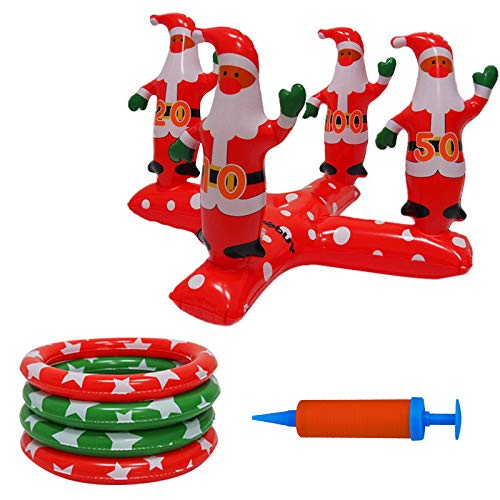 HSKB Ring Toss Game Inflatable Santa Claus Christmas Decoration Throwing Game Ball Toss Game Ring Throwing Cross Balls for Reindeer Garden Games Toy Outdoor Indoor Family Game Party