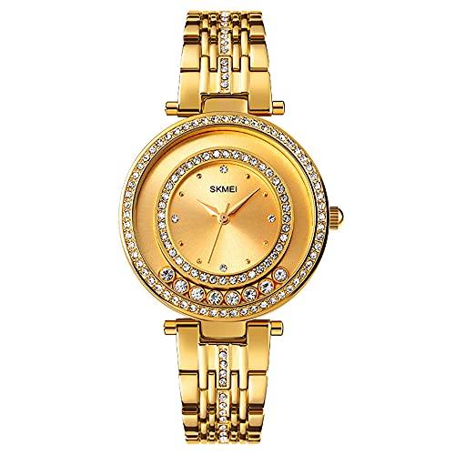 KLFJFD Temperamento De Las Señoras, Reloj De Cuarzo Impermeable De Diamantes De Imitación Giratorio En Forma De Anillo De Lujo Ligero, Reloj De Moda De Regalo De Ocio Creativo