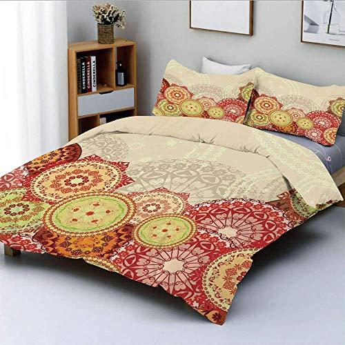 Conjunto de funda nórdica, varios tamaños Patrones de mandala coloridos Símbolo espiritual indio Diseño de estilo boho Conjunto de ropa de cama decorativa de 3 piezas con funda de almohada 2, multicol