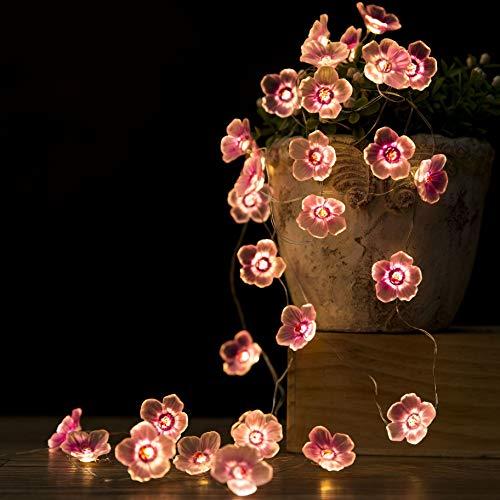 Onemore Kirschblüten Led Lichterkette AA Batterie Betrieb, 30 LED Batteriebetrieben Rosa Blumenlichterketten Lichterketten für Außen & Innen kinderzimmer Weihnachtsbaum Weihnachten Zimmer Dekoration