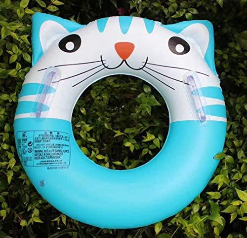 OutdoorAufblasbare Katze Pool Float Nette Katze Tier Schwimmbad Ring mit Griff Kinder Wasser Strand Spielzeug für Kinder,Blau,60cm