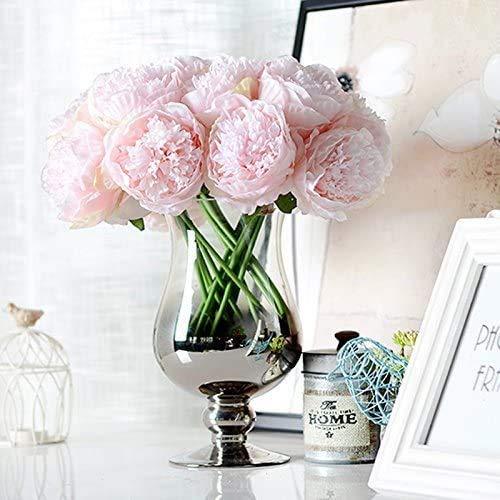 Decpro 2 Bündel künstliche Pfingstrosen, 10 Köpfe Seide Pfingstrose gefälschte Blume für Hochzeit Home Office Party Hotel Dekoration, Blumenarrangements(Hell-Pink)