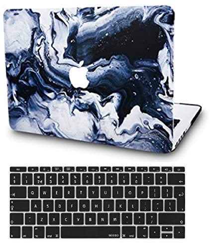 KECC Laptop Case for New MacBook Air 13' Retina (2020/2019/2018, Touch ID) w/ UK Keyboard Cover Plastic Hard Shell Case A1932 (Black Grey Marble)