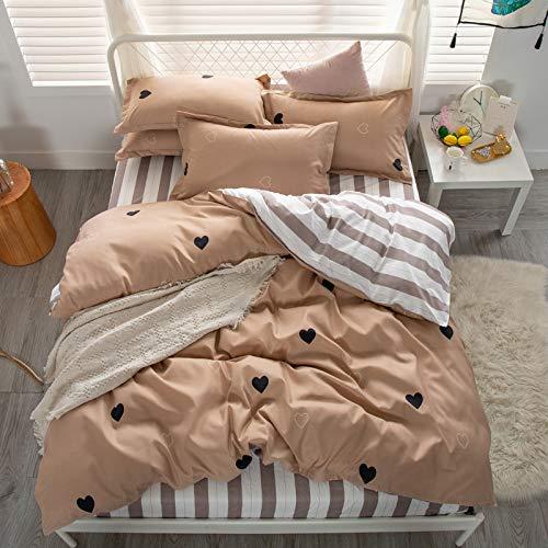 QWEASDZX Four Piece Duvet Cover Set Bed Linen Polyester Duvet Cover Pillowcase Bedding Set Easy to Clean 1.2m