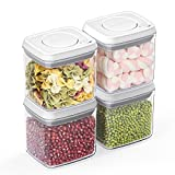 ANVAVA Airtight Food Storage Containers Set - 4-Pack Small One Button Opening Kitchen Pantry...
