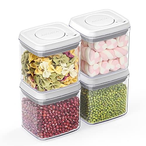 ANVAVA 320ml Vorratsdosen 4 Set mit Ein-Klick-Öffnung & Sperrfunktion, Stapelbare Behälter mit Deckel für eine luftdichte Aufbewahrung von Lebensmitteln, Kunststoff (SAN) BPA-frei, LFGB Zertifizierung