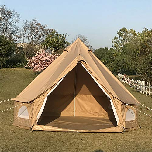 Diameter 3 Meter Waterproof Ripstop Polyester Cotton Plaid Cloth Tripod Frame Camping Bell Tent Central-Pole-Free Easily Contain a Queen Size Air Mattress (Khaki, Diameter 3M)