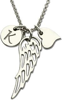 Collana in Argento Sterling 925 Collana da Donna Collana Personalizzata Collana con Nome Personalizzato Pendente con Ali ...