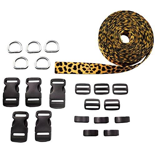 Moose Pet Wear 5 x Hundehalsbänder Nähset mit 2,5 cm Gurtband mit Leopardenmuster