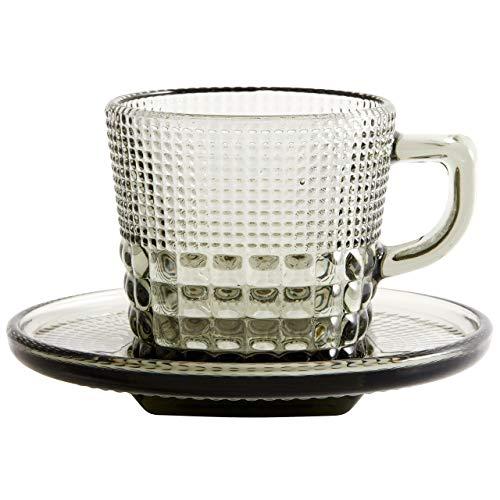Nordal Tasse Untertasse Glas 13.5cm Rauch-Grau